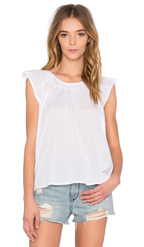The Great Flutter Sleeve Top in White