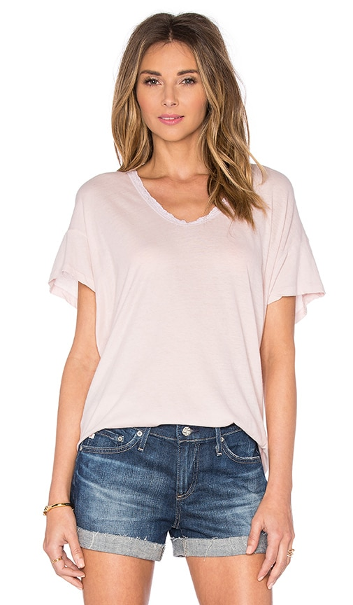 The Great Lace U-Neck Tee in Rosewater