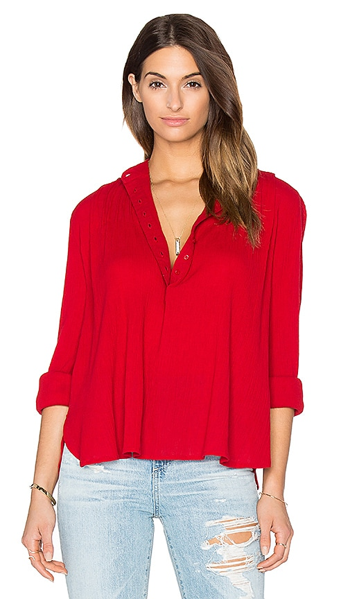 The Great The Pleat Top in Red