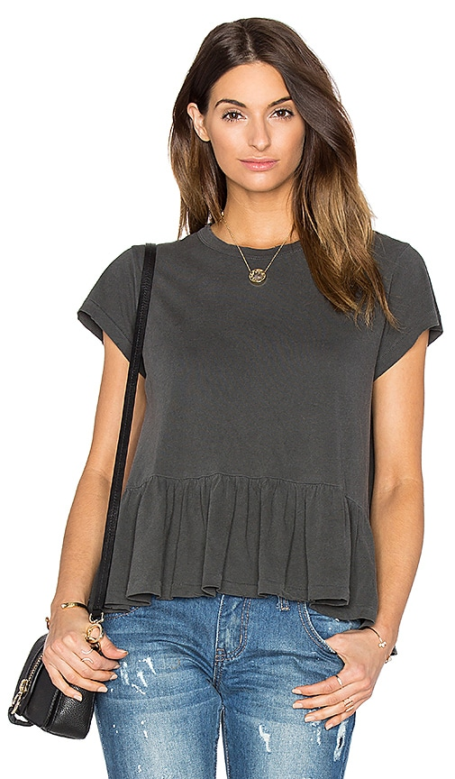 The Great The Ruffle Tee in Charcoal