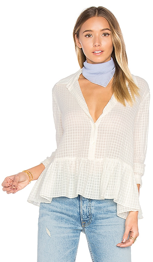 The Great The Ruffle Oxford Top in Cream