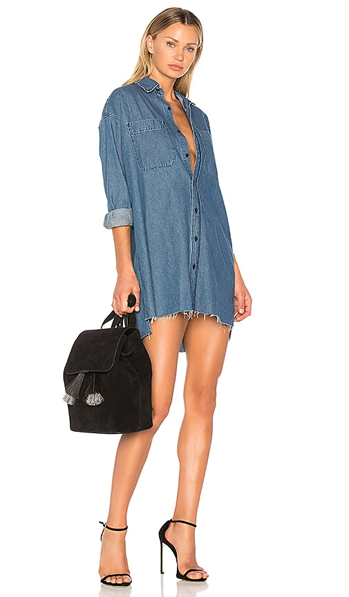GRLFRND Shaun Boyfriend Shirt Dress in Denim Medium