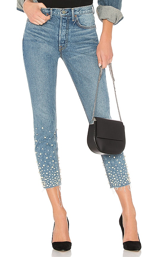 official store factory buy real Karolina Embellished High-Rise Skinny Jean