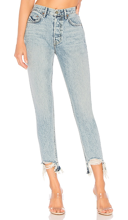 Karolina High-Rise Chewed Hem Jean