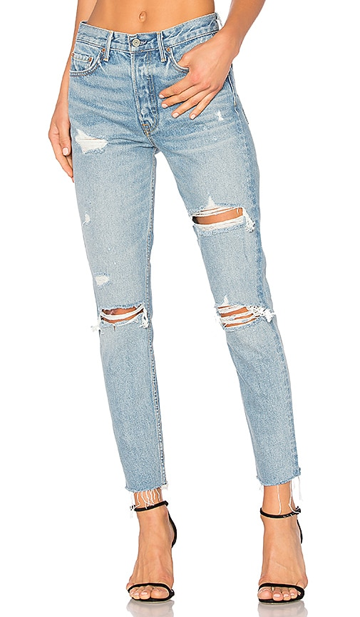 GRLFRND Karolina High-Rise Skinny Jean in Blue