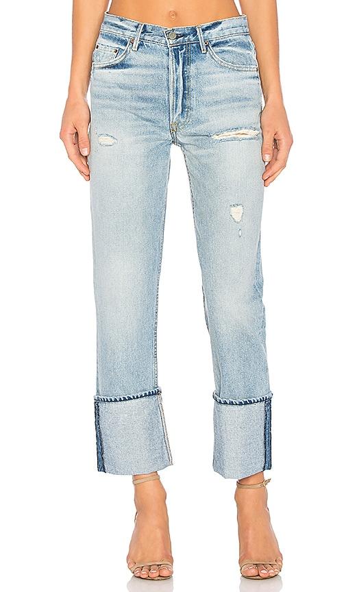 Helena Straight Leg Jean in Denim Medium. - size 23 (also in 24,25,26,27,28,29,30) GRLFRND