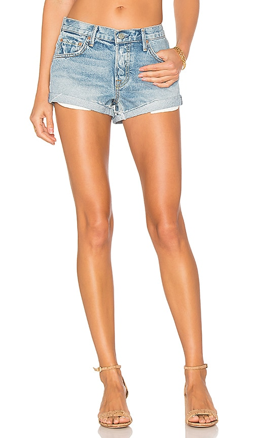 GRLFRND Adriana Mid-Rise Slouchy Short Tacked and Rolled in Love Rollercoaster