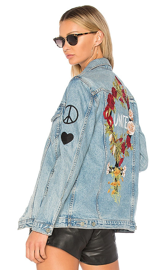 GRLFRND x REVOLVE Daria Oversized Denim Trucker Jacket in Fools Gold