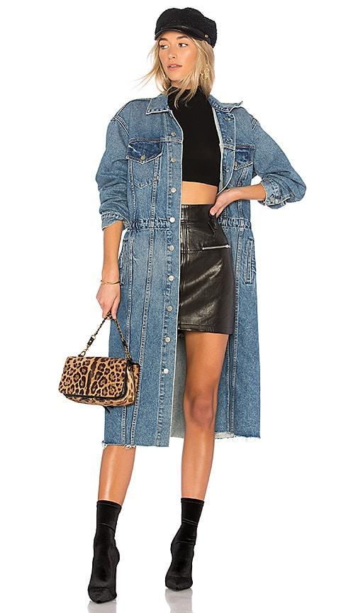 GRLFRND Iman Long Denim Coat in Material Girl