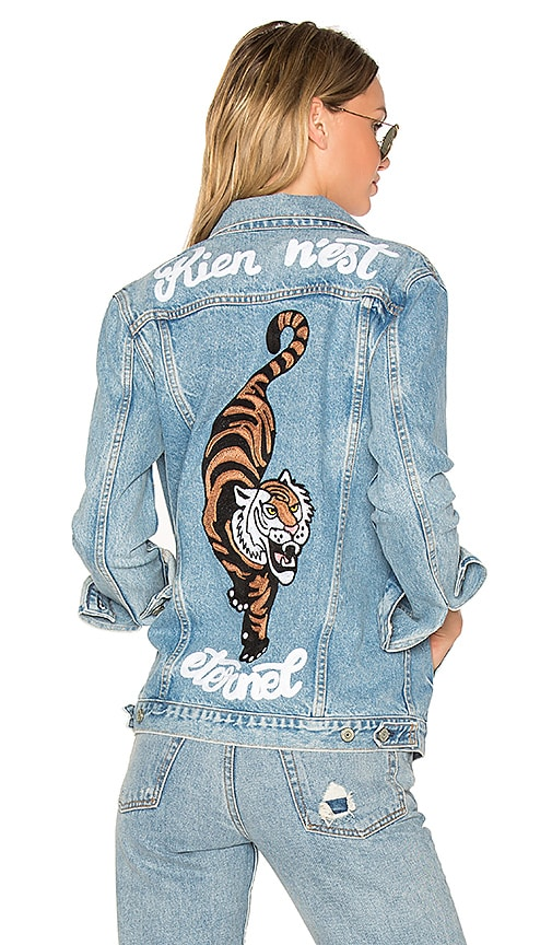 GRLFRND Daria Oversized Denim Trucker Jacket in Blue