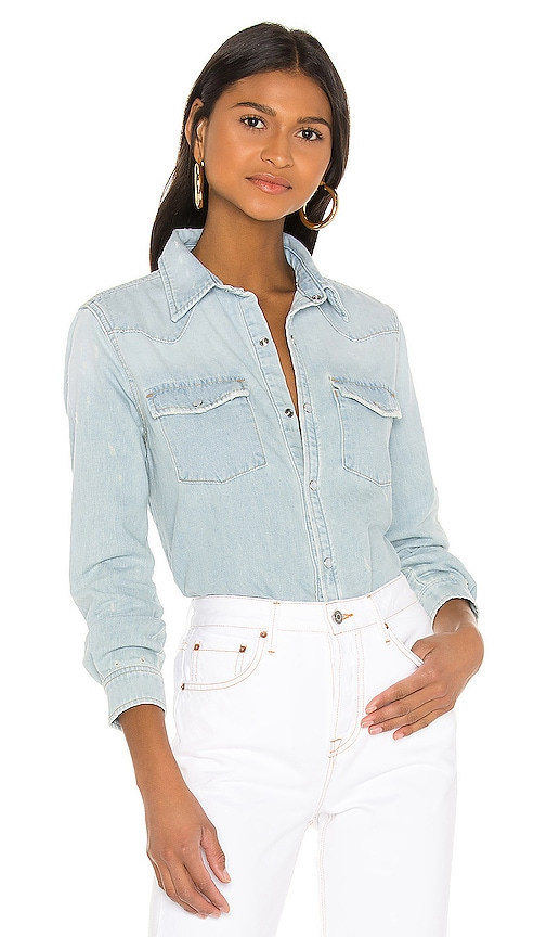 GRLFRND Lauren Denim Shirt in All Right Now