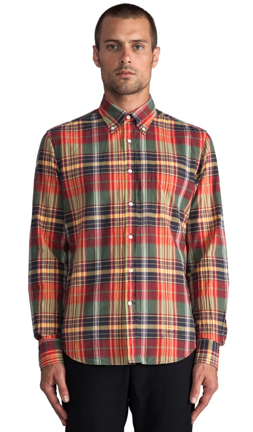 Fall Madras E-Z Button Down
