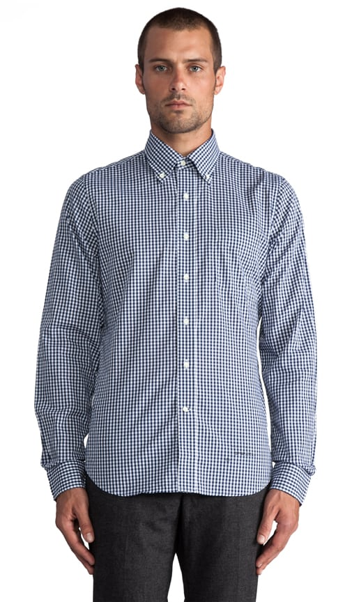 Imported Fabric Gingham Button Down