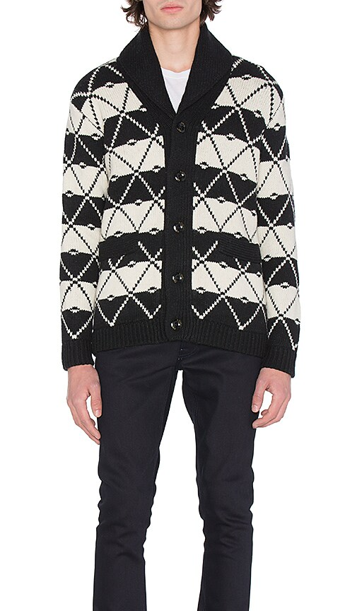 G-Star Core Jacquard Shawl Cardigan in Black & White