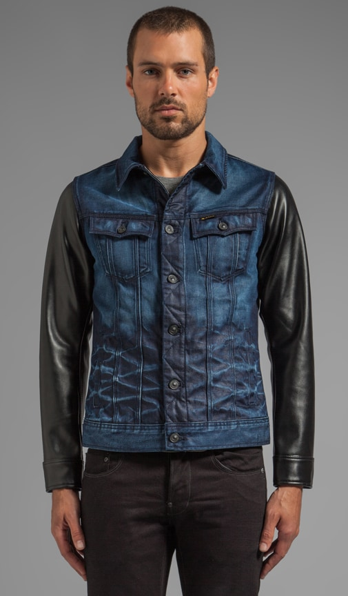 Slim Tailor Leather Sleeve Jacket