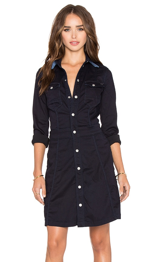 G-Star Tacoma Long Sleeve Slim Flare Dress in Rinsed