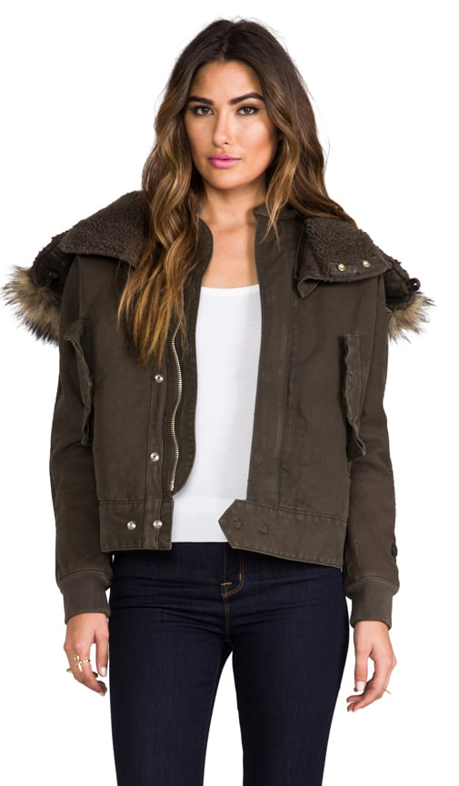 Army Flight Bomber Jacket with Faux Fur Trim