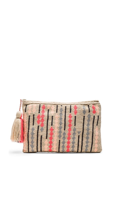 Guanabana Abaco Clutch in Coral & Grey
