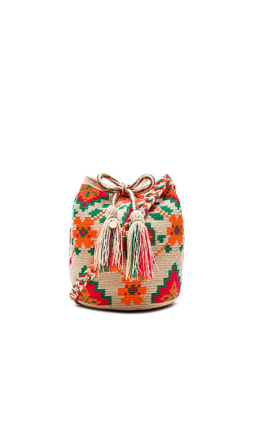 Guanabana Floral Medium Bucket Bag in Orange