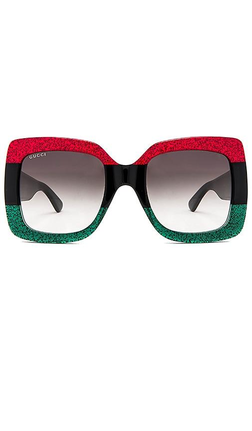 e8967eb1d1d Gucci Oversize Square Acetate in Shiny Glitter Red   Black   Glitter ...