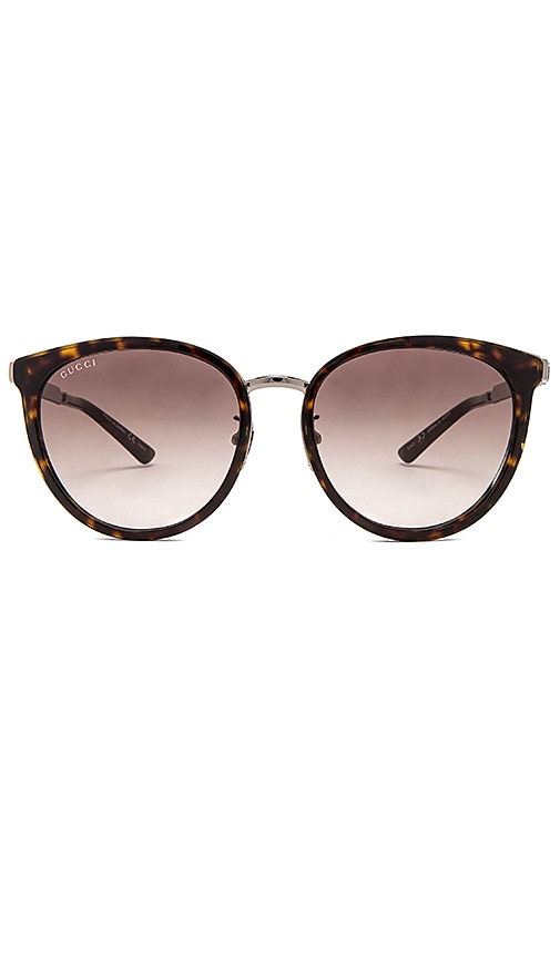 Gucci Round-Frame Acetate & Metal Sunglasses in Brown