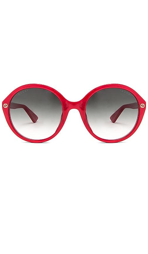 Gucci Round-Frame Acetate Sunglasses in Red