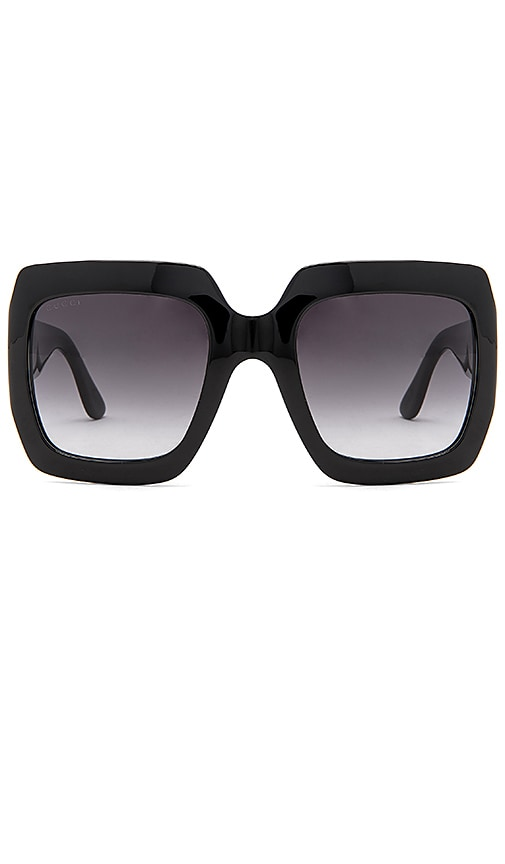 cea62bac9688d4 Gucci LUNETTES DE SOLEIL CARRÉES GRAND FORMAT ACÉTATE en Shiny Black ...