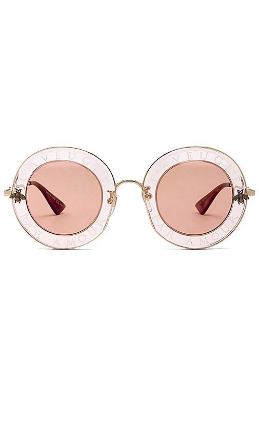 Gucci Round-Frame Metal Sunglasses in Metallic Gold