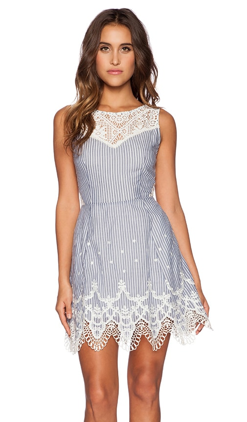 Greylin Mindi Lace Trim Dress in Blue