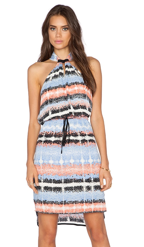 Greylin Amelie Keyhole Halter Dress in Blue