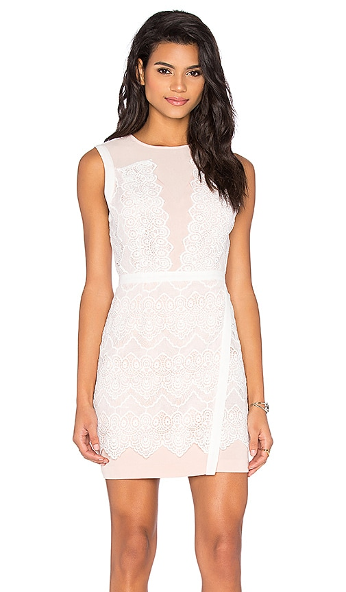 Greylin Lana Two Tone Lace Dress in White