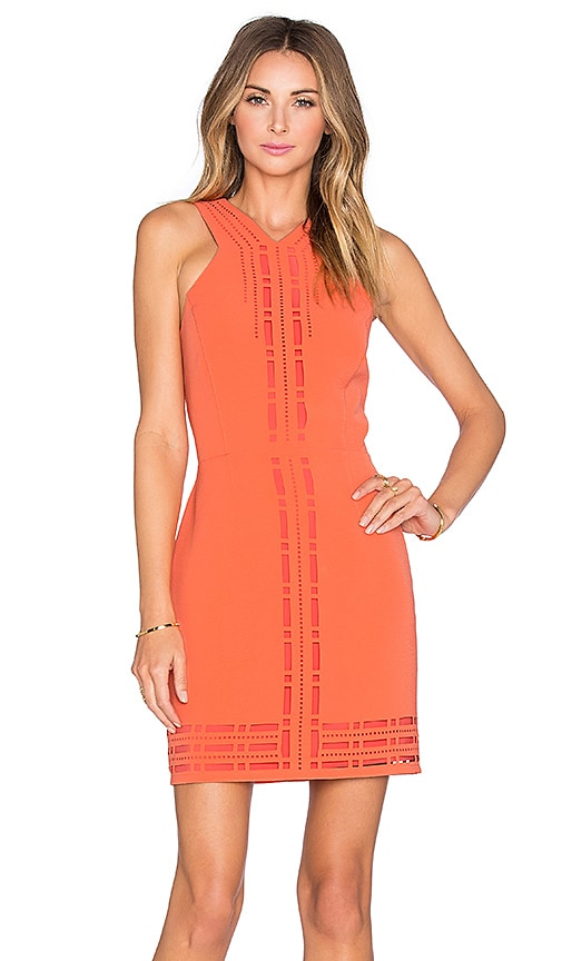 Greylin Millany Laser Cut Dress in Coral