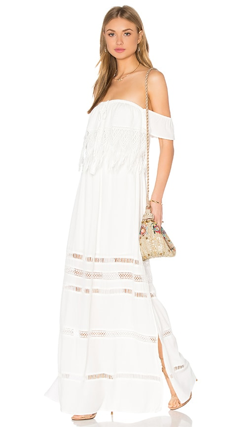 Greylin Fatina Off Shoulder Maxi Dress in White