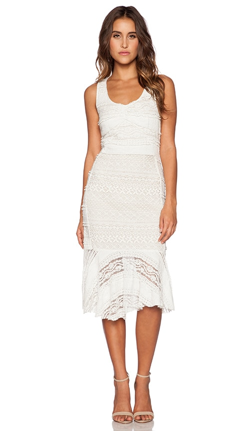 Greylin Neri Lace Midi Dress in White