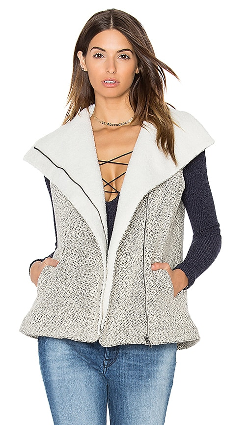 Greylin Melissa Shearling Vest in Black & White
