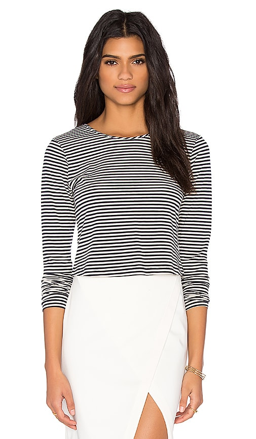 Greylin Ava Stripe Button Back Top in Black