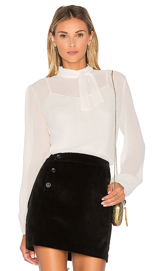 Greylin Anissa Sheer Silk Tie Neck Blouse in White