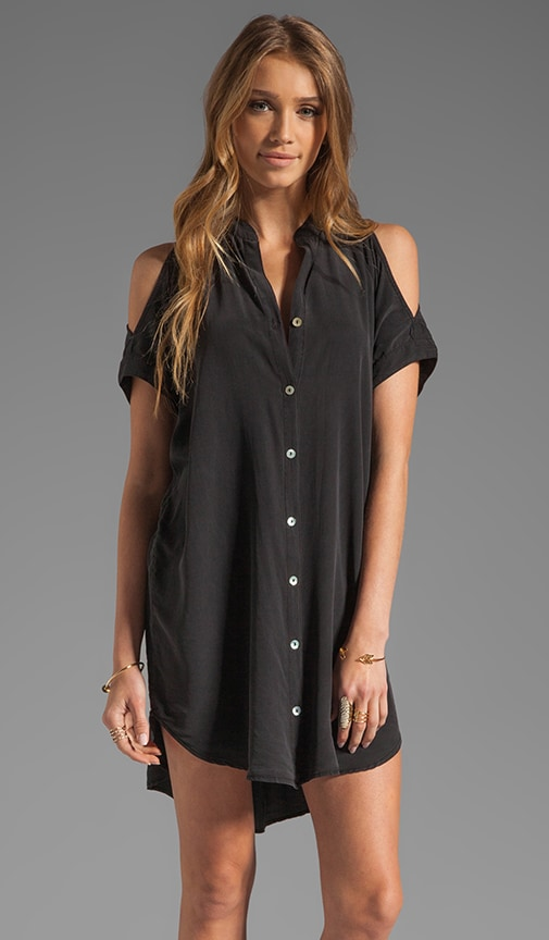 Emily Silk Cold Shoulder Mini Dress