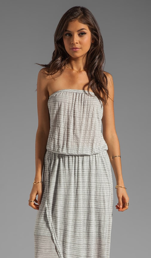 Megan Crepe Stripe Strapless Wrap Maxi Dress