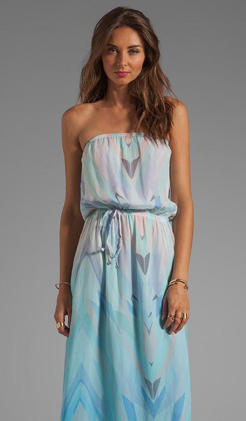Prim Geo Print Strapless Maxi Dress