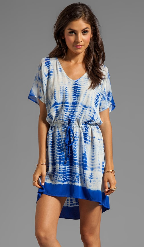 Calvi Mixed Silk V-Neck Hi/Lo Mini Dress