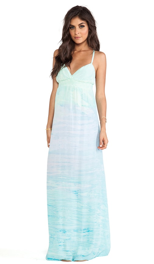 Mixed Silk Spaghetti Maxi Dress
