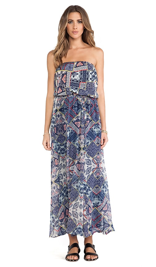 Adari Printed Silk Tube Maxi Dress