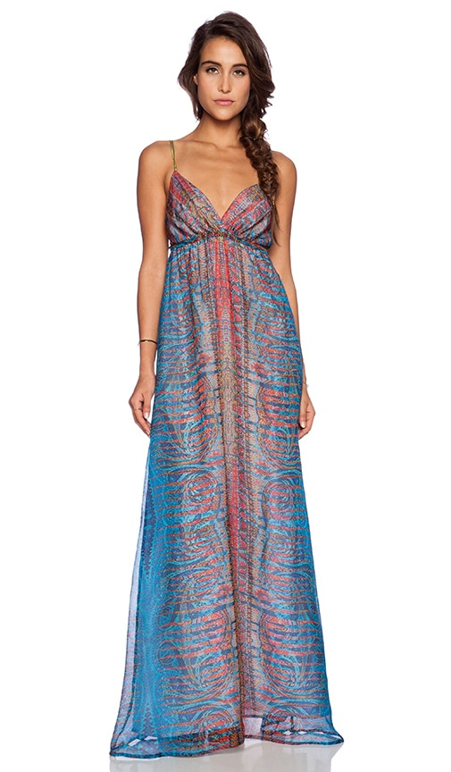 8eedb5d53e Gypsy 05 Printed Spaghetti Strap Maxi Dress in Prismatic Blue