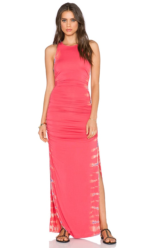 Gypsy 05 Bamboo Shirred Maxi Dress in Coral