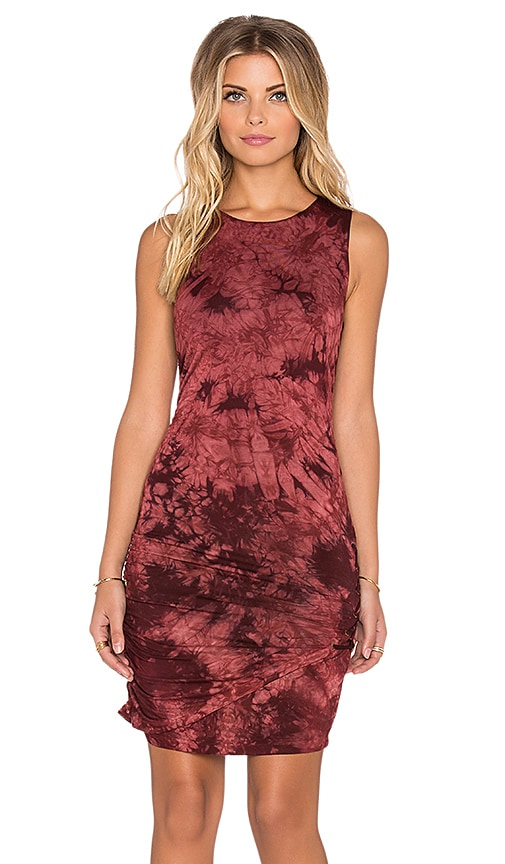 Gypsy 05 Bamboo Lace Up Mini Dress in Burgundy