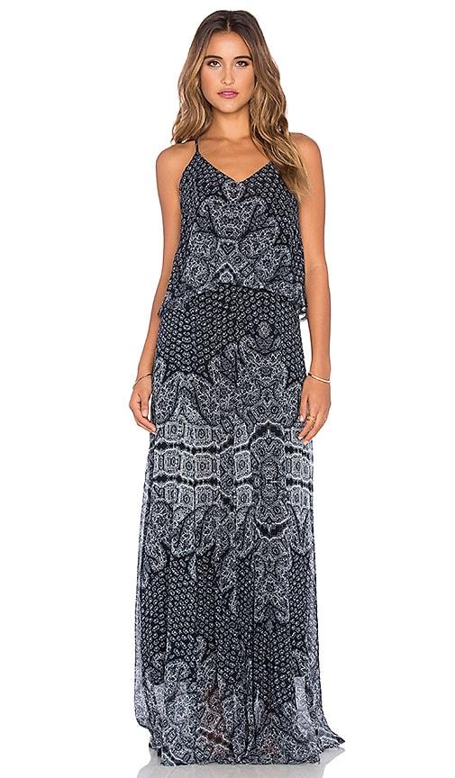 Gypsy 05 Printed Lampshade Maxi Dress in Black