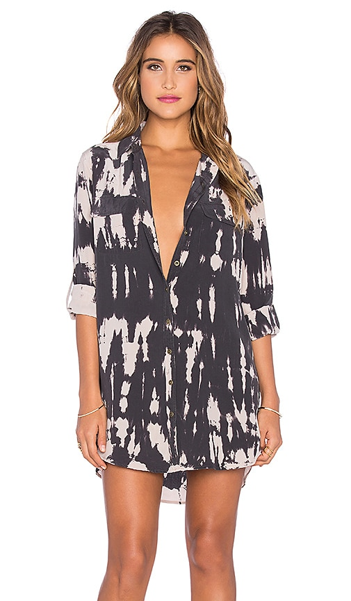 Gypsy 05 Long Sleeve Button Up Shirt Dress in Black