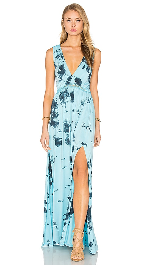 Gypsy 05 V Neck Open Back Maxi Dress in Blue