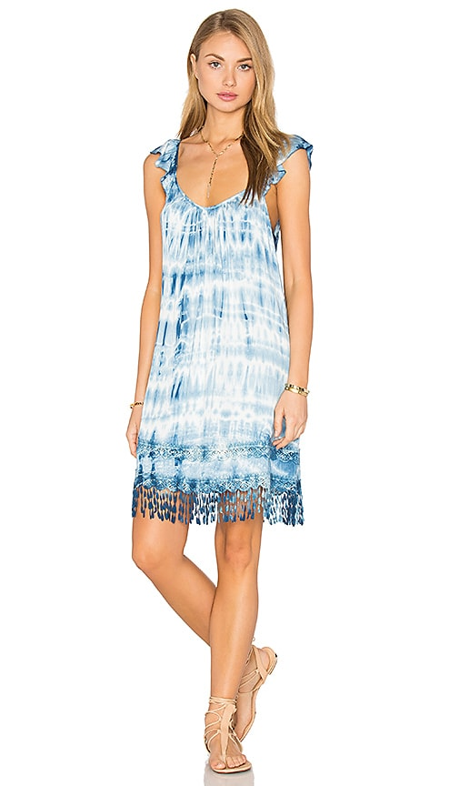 Gypsy 05 Crochet Fringe Dress in Blue